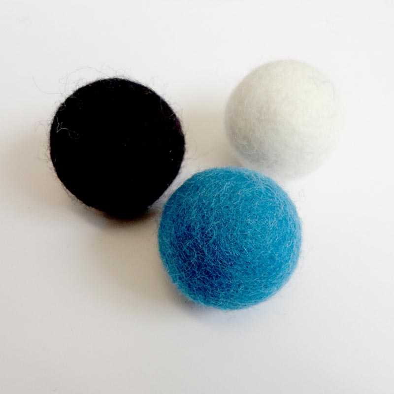 felted wool balls 3 pack
