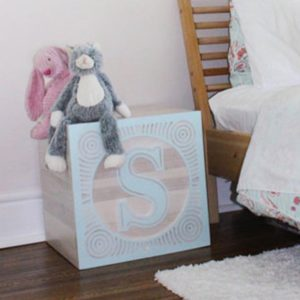 Adelaide Creek toy box, custom made letter S