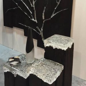 Glass fired end tables by Fuel Glassworks