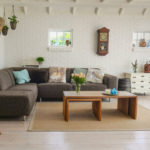Minimalist living room with vintage accent pieces