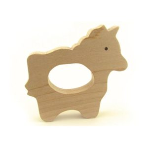 Solid Maple Wood Baby Unicorn Teether