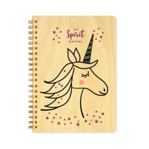 Unicorn Spirit Animal wood notebook