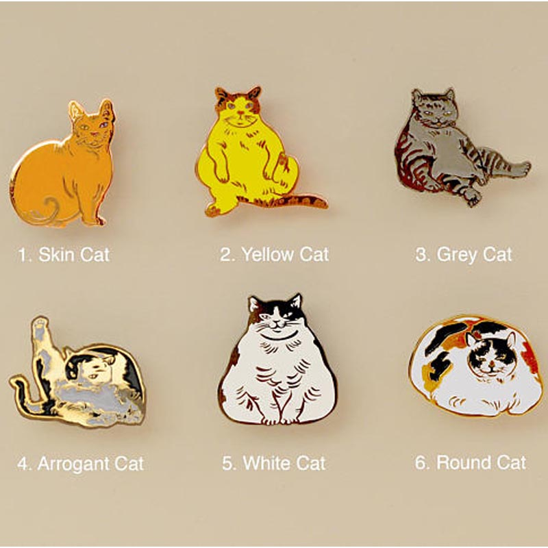 Carefree Cats enamel pin collection