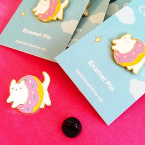 Sparkle Collective donut cat enamel pin