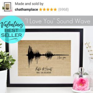 """I Love You"" sound wave on burlap by ChathamPlace"