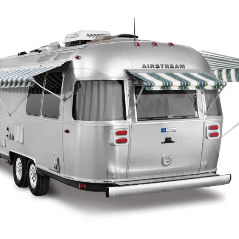 Rear view Airstream Tommy Bahama trailer