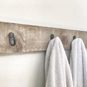 Rustic wall hanging towel rack