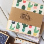 Cactus and wood print coasters