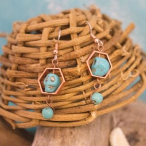 copper rose gold turquoise skull earrings