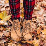 Crunch the fall leaves in plaid leggings