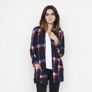 Plaid Shrug Cardigan with suede elbow patches