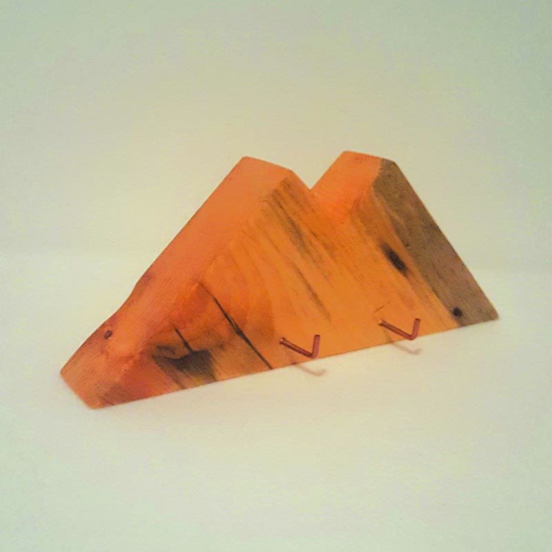 Solid wood mountain with copper hooks