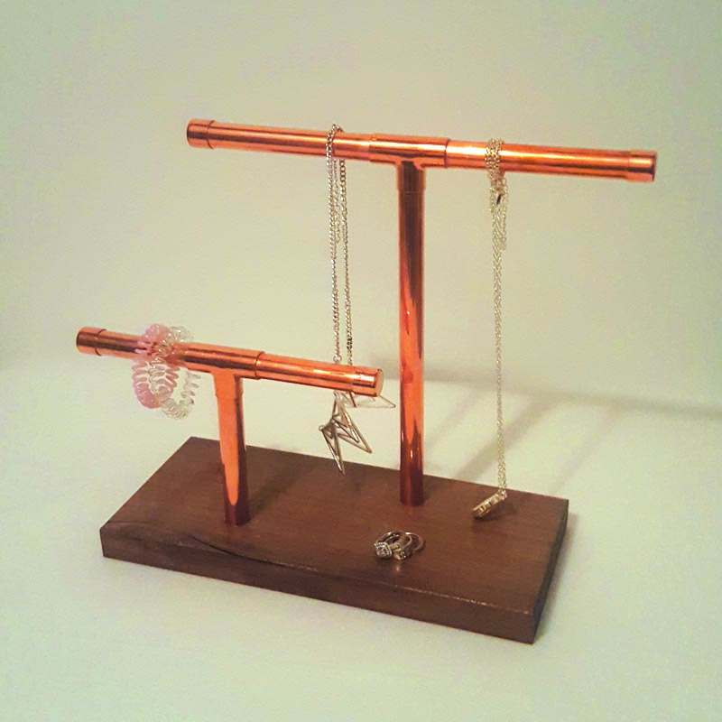 Copper Pipe & Walnut Jewelry Stand by CDN CRFT