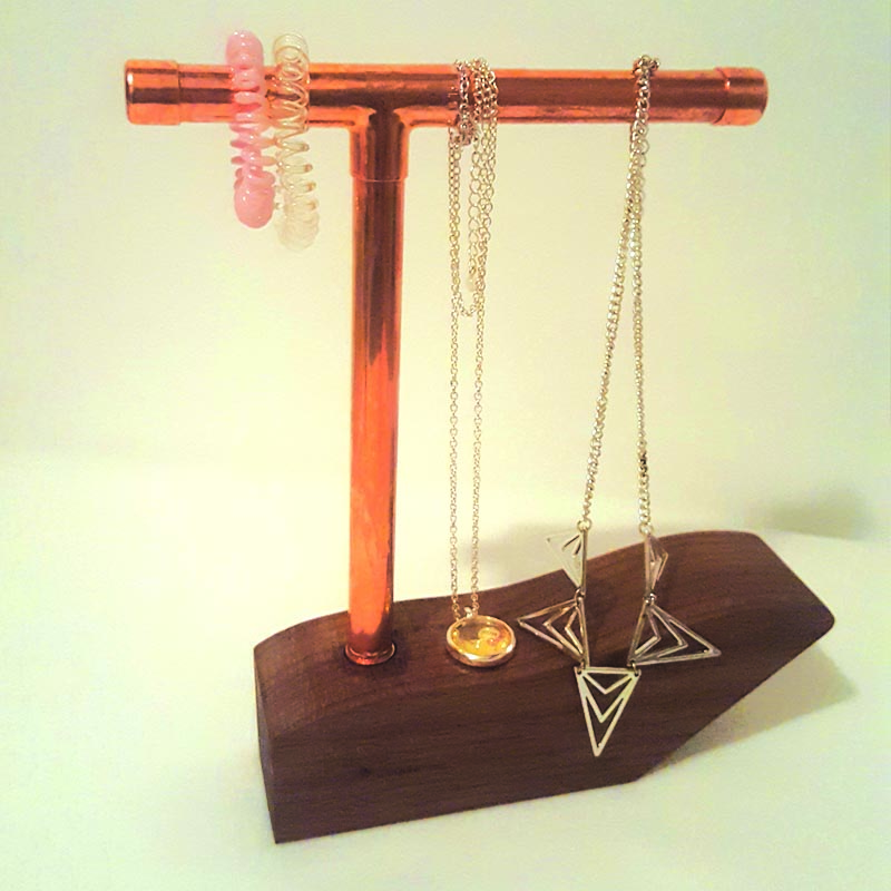 Necklace only copper stand on walnut base